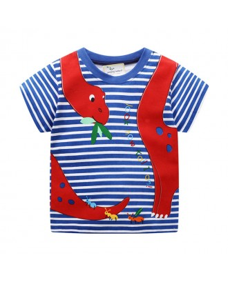 Animal Print Boys Short Sleeve Cotton T-Shirt For 1-9Years