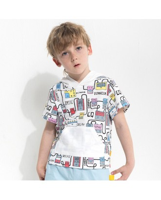 Boy Cotton Cartoon Printed Hooded T-shirt For 2-9Y