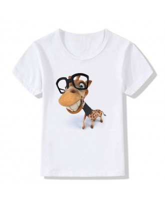 3D Giraffe Pattern Toddler Boys Girls Cotton T-shirt For 3Y-13Y
