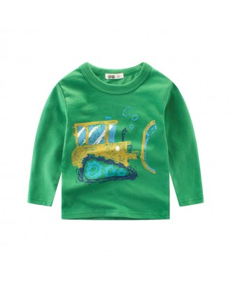 Boy Long Sleeve Tops Car Printed T shirts For 2Y-12Y