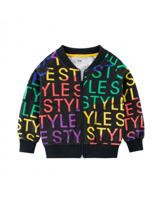 Boys Sports Coat Colorful Letter Print Jacket For 2-11Y