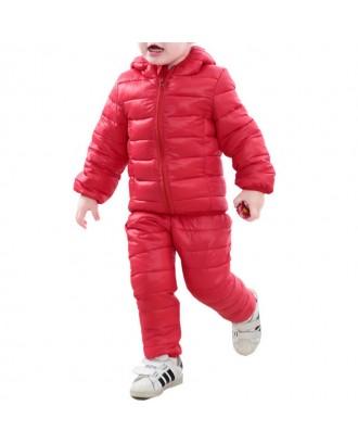 Boys Toddler Winter Coats Set Ultra Light Kids Hooded Jacket For 2-7 Years