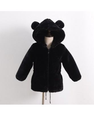 Fleece Bear Ears Girls Boys Hooded Warm Coats For 2Y-13Y