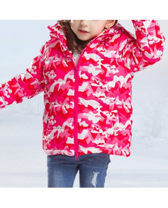 Girls Downs Parkas Windproof Boys Camouflage Winter Coat For 4Y-15Y