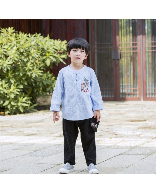 Ethnic Style Boy's Cotton And Linen Shirt Or Pant For 2-11Y