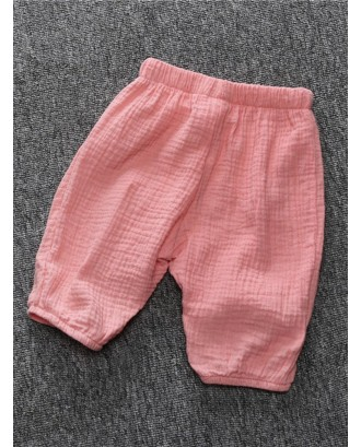 Boys Pleated Solid Color Cotton Cute Pants