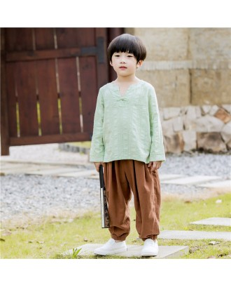 Boy's Folkways Style Cotton And Linen Shirt Or Pant For 2-11Y