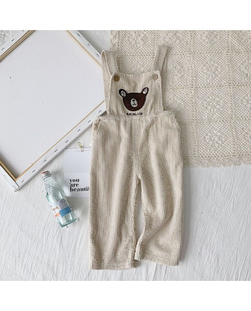 Toddler Bear Pattern Button Pocket Casual Corduroy Overalls For 1-7Y