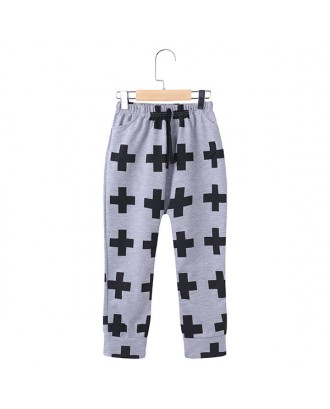 Cross Pattern Toddler Boys Cotton Long Pants Trousers Bottoms For 1Y-11Y
