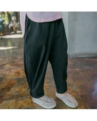 Cotton Linen Boys Solid Color Comfy Casual Pants For 2Y-9Y
