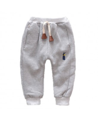Baby Boy's Cartoon Plus Velvet Thicken Casual Pants For 1-5Y