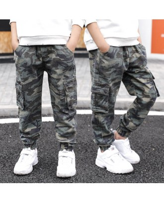 Camouflage Boys Kids Outdoor Sport Multi-pocket Pants For 6Y-15Y