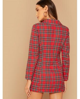 Notch Collar Double Breasted Tartan Blazer Dress