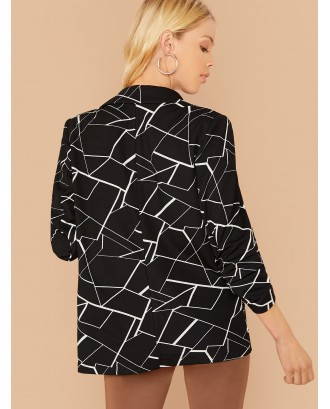 Notch Collar Geo Print Gathered Sleeve Blazer