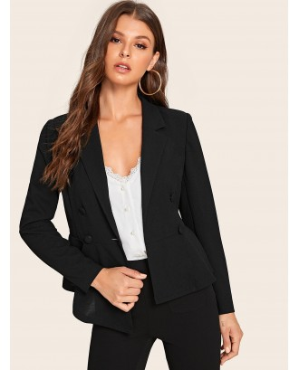 Double Breasted Solid Peplum Blazer