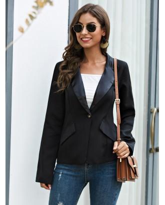 Solid Lapel Collar Single Button Blazer
