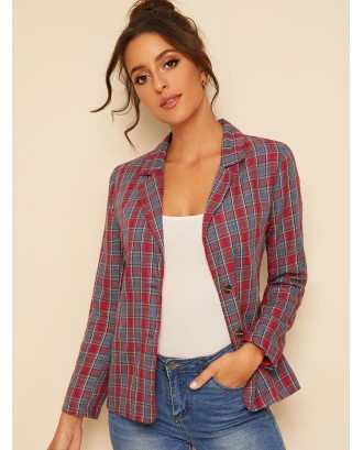 Plaid Print Single Breasted Blazer
