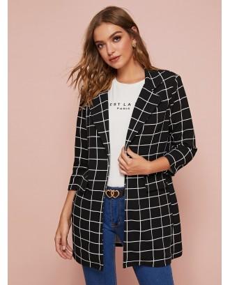 Notched Collar Check Blazer