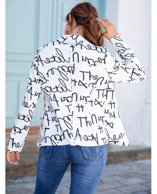 Allover Letter Graphic Shawl Collar Blazer