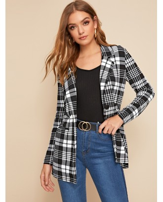 Single Buttoned Notched Collar Plaid Blazer