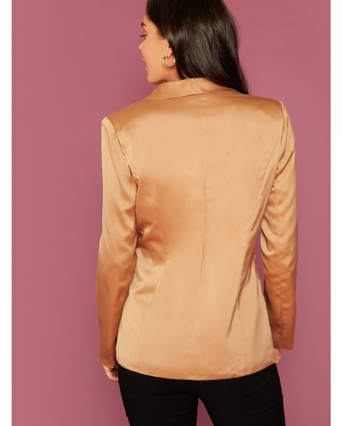 Shawl Collar Pocket Patched Satin Blazer