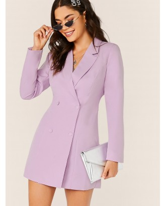 Notched Collar Double Breasted Blazer Dress