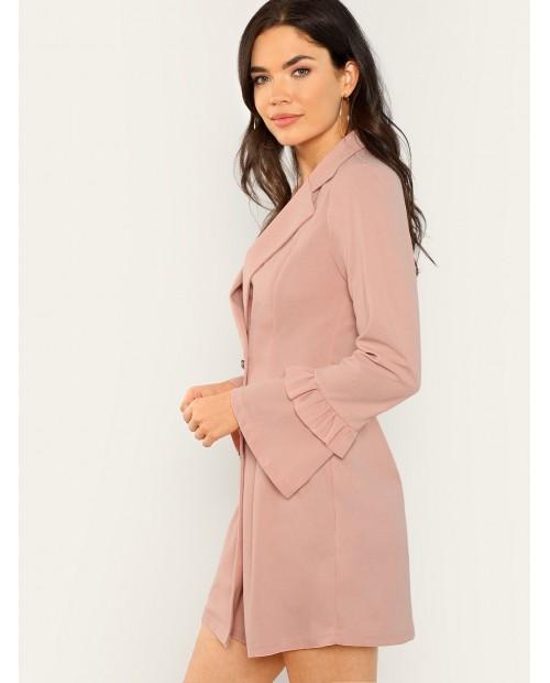 Double Breasted Flounce Sleeve Blazer Dress