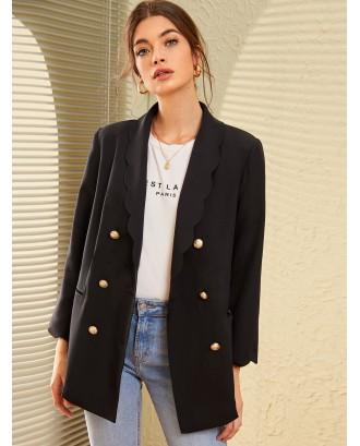 Scallop Shawl Collar Gold Button Front Blazer