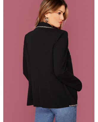 Sequin Trim Shawl Collar Tailored Blazer