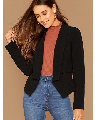 Shawl Collar Asymmetrical Hem Tailored Blazer