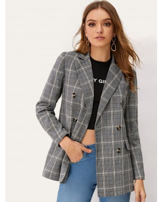 Notch Collar Double Breasted Plaid Blazer