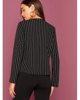 Striped Print Open Front Blazer