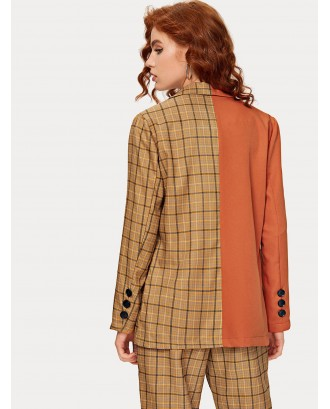 Contrast Plaid Lapel Collar Blazer