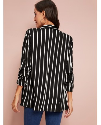 Shawl Collar Gathered Sleeve Striped Blazer