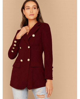 Notch Collar Double Breasted Blazer