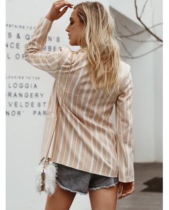 Simplee Striped Single Button Blazer