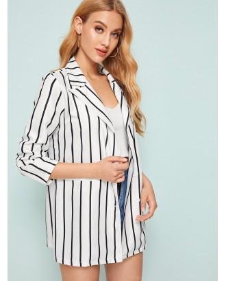 Striped Print Single Button Blazer