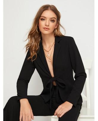Notch Collar Tie Front Fitted Blazer