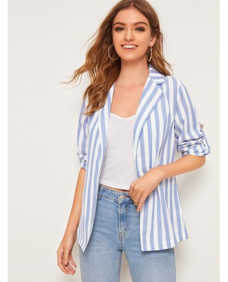 Striped Print Tab Sleeve Blazer