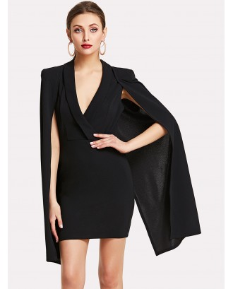 Surplice Front Shawl Collar Cape Dress
