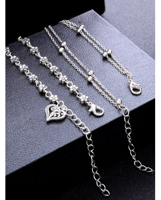 Flower & Heart Layered Chain Anklet 2pcs