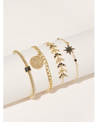 Coin & Star Decor Chain Anklet 4pcs