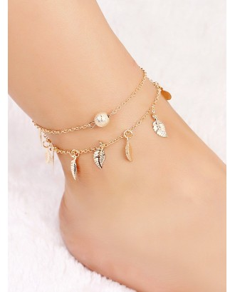 Metal Ball & Leaf Layered Chain Anklet