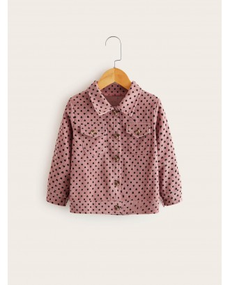 Toddler Girls Corduroy Confetti Heart Print Coat