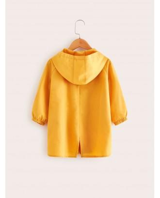 Toddler Girls Contrast Tape Slit Back Hooded Coat