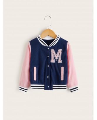 Toddler Girls Contrast Striped Trim Teddy Baseball Jacket