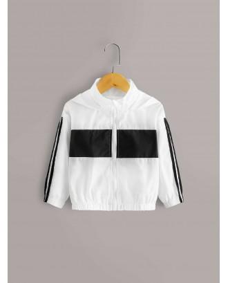 Toddler Girls Contrast Panel Side Stripe Hooded Windbreaker Jacket