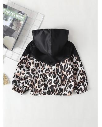 Toddler Girls Contrast Leopard Panel Hooded Jacket