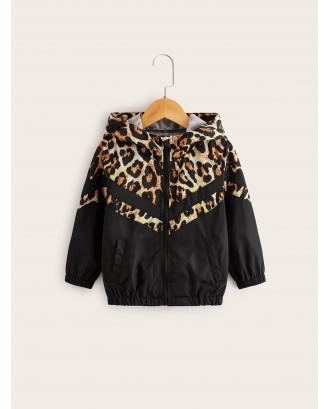 Toddler Girls Contrast Leopard Panel Hooded Windbreaker Jacket