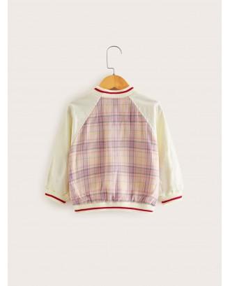 Toddler Girls Contrast Sleeve Tartan Baseball Jacket
